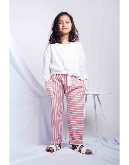 Stripey Pants - Dull Pink