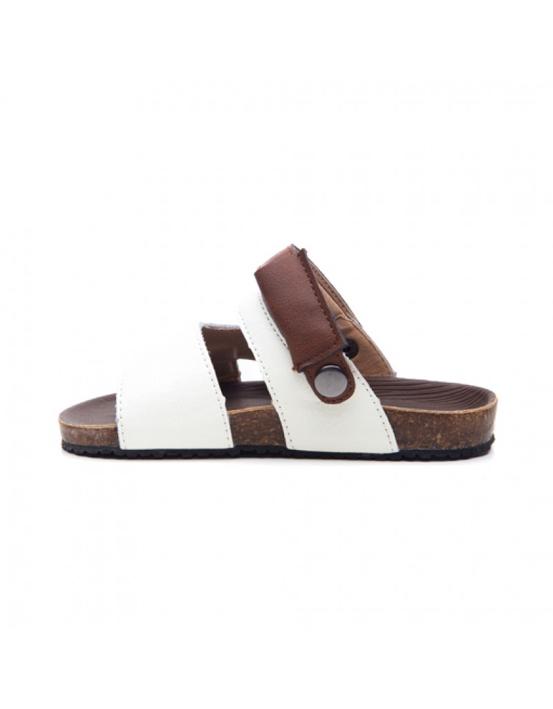Sarungje Sandals - White & Dark Brown